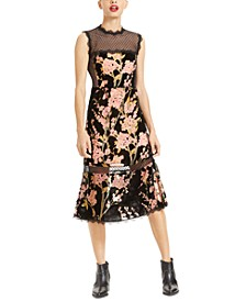Illusion Floral-Print Midi Dress