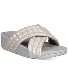 Lulu Padded Shimmy Suede Slide Sandals