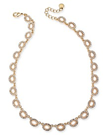 """Gold-Tone Pavé & Imitation Pearl Collar Necklace, 17"""" + 3"""" extender, Created For Macy's"""