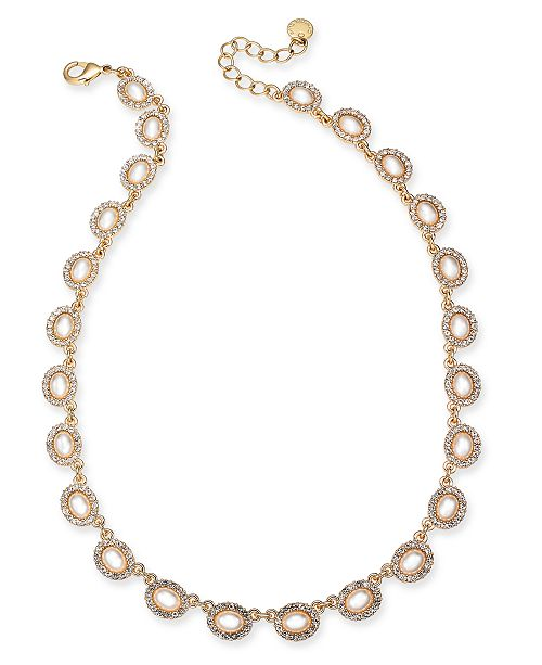 """Charter Club Gold-Tone Pavé & Imitation Pearl Collar Necklace, 17"""" + 3"""" extender, Created For Macy's"""