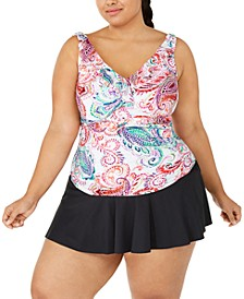 Plus Size Captiva Paisley Ruffled Tankini Top & Swim Skirt