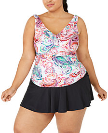 Lauren Ralph Lauren Plus Size Captiva Paisley Ruffled Tankini Top & Swim Skirt