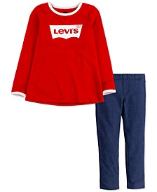 Little Girls 2-Pc. Logo Top & Leggings Set