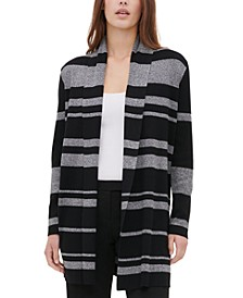 Variegated-Stripe Open-Front Cardigan