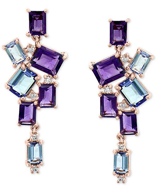 EFFY Collection EFFY® Multi-Gemstone (3 ct. t.w.) & Diamond (1/20 ct. t.w.) Drop Earrings in 14k Rose Gold