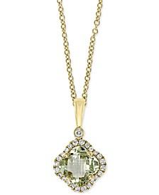 "EFFY® Green Quartz (1-1/3 ct. t.w.) & Diamond (1/6 ct. t.w.) 18"" Pendant Necklace in 14k Gold"
