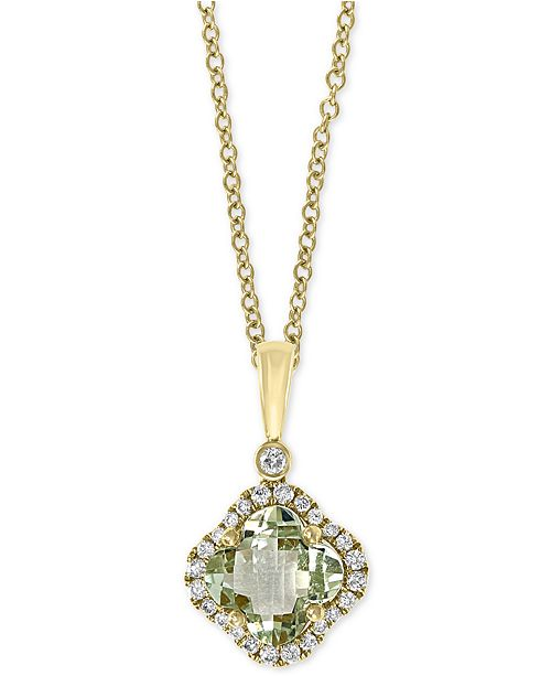 "EFFY Collection EFFY® Green Quartz (1-1/3 ct. t.w.) & Diamond (1/6 ct. t.w.) 18"" Pendant Necklace in 14k Gold"