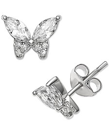 Cubic Zirconia Butterfly Stud Earrings in Sterling Silver, Created for Macy's