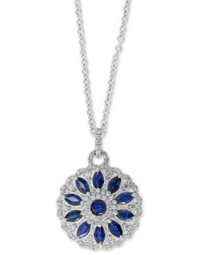 "Effy Sapphire (2-3/8 ct. t.w.) & Diamond (5/8 ct. t.w.) Flower Disc 18"" Pendant Necklace White Gold"