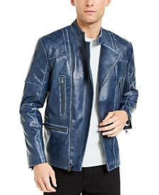 INC Men's Braxton Faux Leather Moto Jacket, Created For Macy's