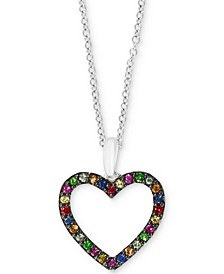 "EFFY® Multi-Gemstone (1/4 ct. t.w.) Heart 18"" Pendant Necklace in Sterling Silver"