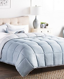 Striped Reversible Chambray Comforter Set, Oversized Queen