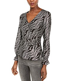 Metallic Chain-Print Wrap Top