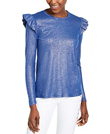 Ruffle-Shoulder Metallic Top, Regular & Petite Sizes