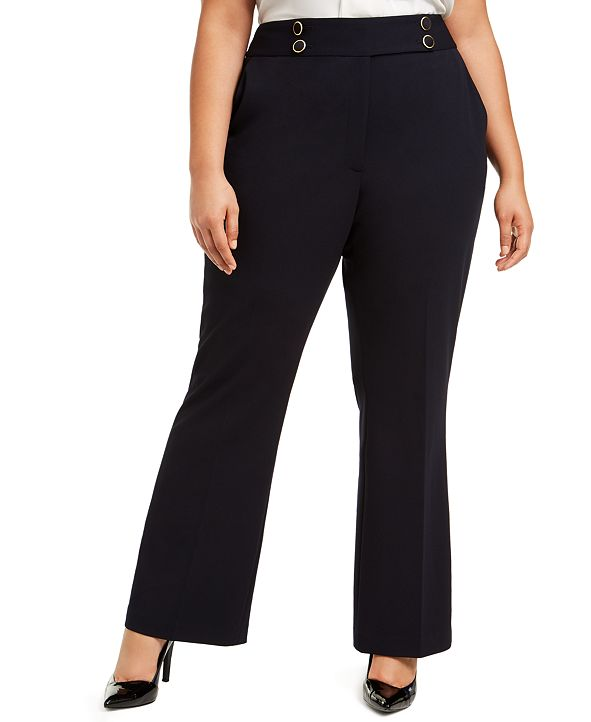 Calvin Klein Plus Size Button-Detail Dress Pants