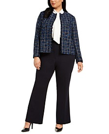 Plus Size Tweed Cropped Jacket, Blouse & Button-Detail Pants
