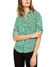 Flat Cat Printed Zip Top, Regular & Petite Sizes