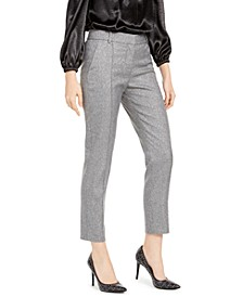 Metallic Pintucked Pants