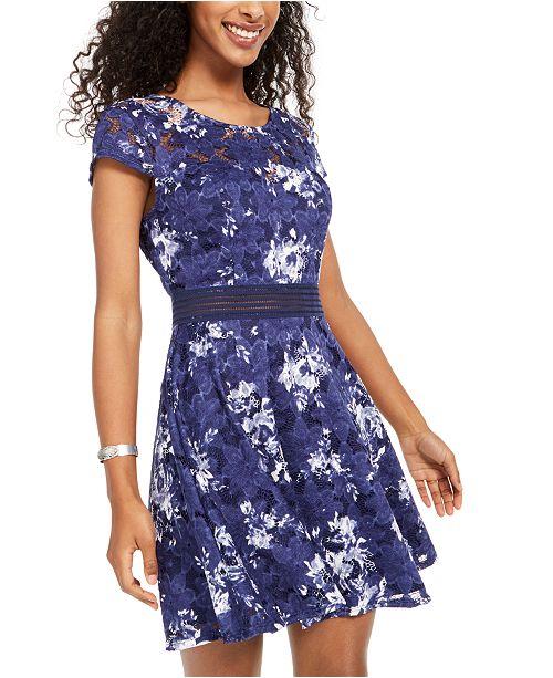 City Studios Juniors' Lace Floral Dress