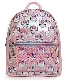 OMG Accessories Whimsical Unicorn Print Metallic Sequin Pocket Mini Backpack