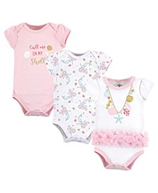 Baby Girl Cotton Bodysuits, 3-Pack