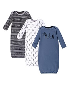 Baby Boy Cotton Gowns, 3-Pack
