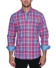 Men's Textured Plaid Button Down Shirt