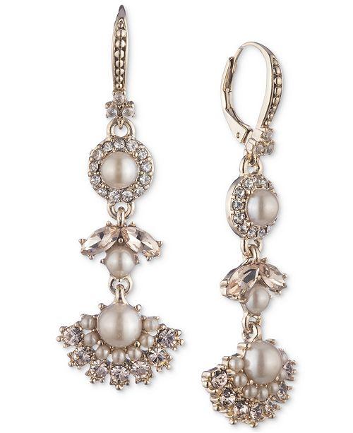 Marchesa Gold-Tone Pavé & Imitation Pearl Triple Drop Earrings