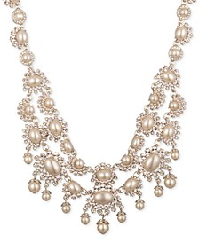 "Gold-Tone Pavé & Imitation Pearl 16-1/4"" Statement Necklace"