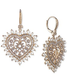 Gold-Tone Pavé & Imitation Pearl Heart Drop Earrings
