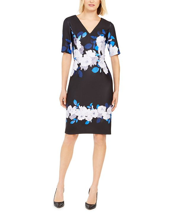 Adrianna Papell Floral V-Neck Dress