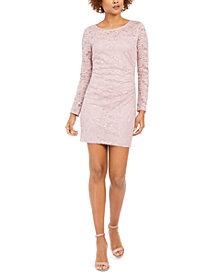 BCX Juniors' Ruched Lace Bodycon Dress