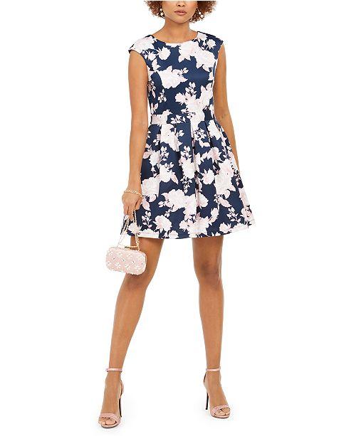 Emerald Sundae Juniors' Floral Foil Fit & Flare Dress