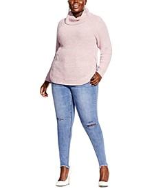 Trendy Plus Size Curved-Hem Turtleneck Sweater