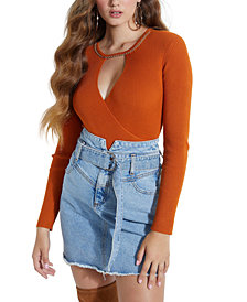 GUESS Elettra Chain-Trim Keyhole Sweater