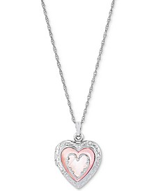 """Pink Mother-of-Pearl Heart Locket 18"""" Pendant Necklace in Sterling Silver"""