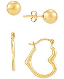 2-Pc. Set Ball Stud Earrings & Heart Hoop Earrings in 10k Gold