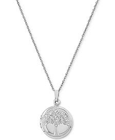 "Single-Frame Tree Locket 18"" Pendant Necklace in Sterling Silver"