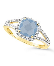 Created Spinel Aquamarine (1-5/8 ct. t.w.) and Created White Sapphire (1/4 ct. t.w.) Ring in 10k Yellow Gold
