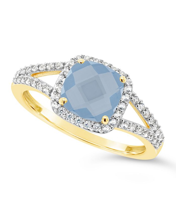 Macy's - Created Spinel Aquamarine (1-5/8 ct. t.w.) and Created White Sapphire (1/4 ct. t.w.) Ring in 10k Yellow Gold