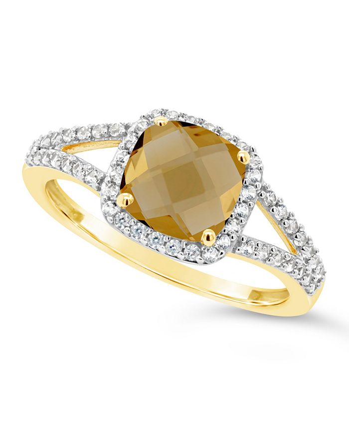 Macy's - Citrine (1-1/3 ct. t.w.) and Created White Sapphire (1/4 ct. t.w.) Ring in 10k Yellow Gold