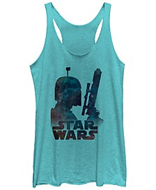 Star Wars Boba Fett Posing In Galaxy Tri-Blend Racer Back Tank