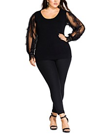 Trendy Plus Size Lace-Sleeve Sweater