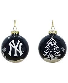"New York Yankees 3"" Glitter Holiday Ball"
