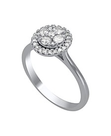 Round Shape Halo Cluster Diamond (1/2 ct. t.w.) Ring in 14K White Gold