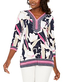 Mixed-Print Rhinestone Tunic, Created for Macy's