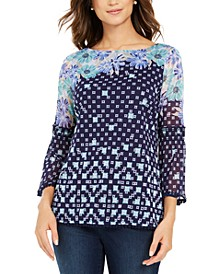 Printed Knit Mesh Top, Created for Macy's
