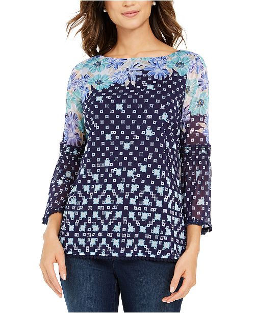 Charter Club Printed Knit Mesh Top, Created For Macy's