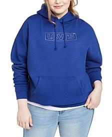 Trendy Plus Size Cotton Logo Graphic Fleece Hoodie
