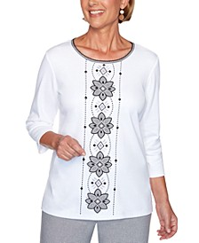 Petite Riverside Drive 2020 Embroidered Embellished Top